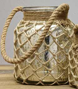 Mercury Glass Jar With Rope Handle - Medium