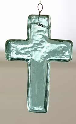 Blue Glass Cross Ornament - Large