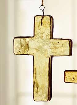 Amber Glass Cross Ornament - Large