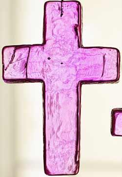 Pink Glass Cross Ornament - Medium