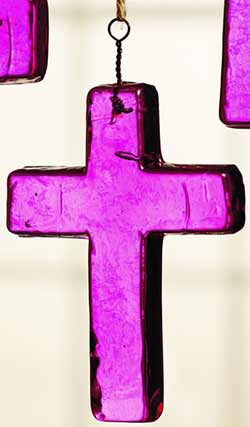 Dark Pink Glass Cross Ornament - Small