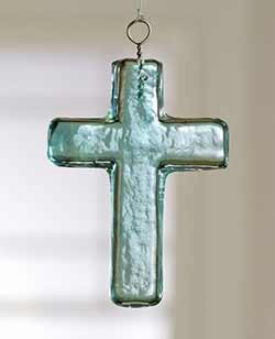 Blue Glass Cross Ornament - Small