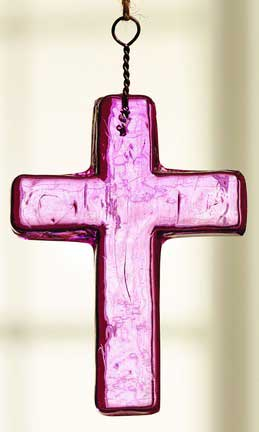 Pink Glass Cross Ornament - Small