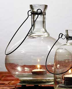 Glass Bottle Tealight Lantern - Large
