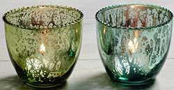 Blue & Green Mercury Glass Tealight Candle Holders (Set of 2)