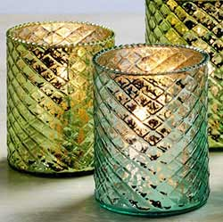 Blue & Green Mercury Glass Votive Candle Holders (Set of 2)