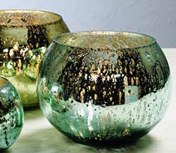 Blue & Green Mercury Glass Round Candle Holders (Set of 2) - Larger