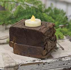Rustic Wood Tealight Candle Holder