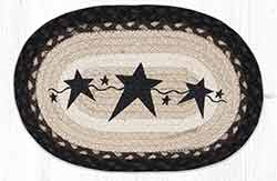 Primitive Stars Black Printed Braided Oval Tablemat