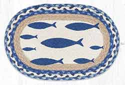 Fish Printed Braided Oval Tablemat