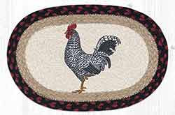 Black & White Rooster Printed Braided Oval Tablemat