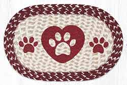 Heart Paws Printed Braided Oval Tablemat