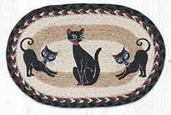 Crazy Cats Printed Braided Oval Tablemat