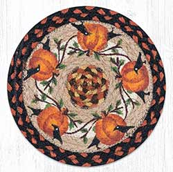Pumpkin Crow Braided Tablemat - Round (10 inch)