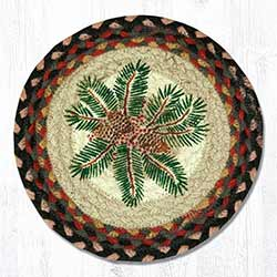 Pinecone Red Berry Braided Tablemat - Round (10 inch)