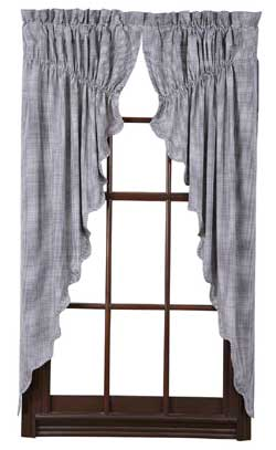 Maddox Prairie Curtain (Navy Blue and White Gingham Check)