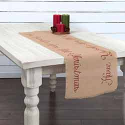 Merry Little Christmas Jute 48 inch Table Runner