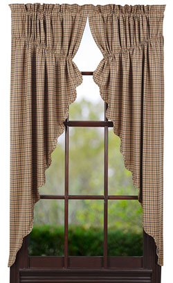 Millsboro Prairie Curtain (Burgundy and Navy Plaid)