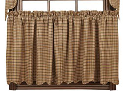 VHC Brands Millsboro Plaid Cafe Curtains - 24 inch Tiers (Burgundy and Navy Blue)