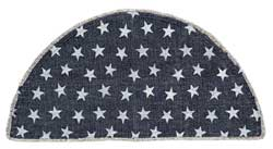 Multi Star Navy Cotton Rug - Half Circle