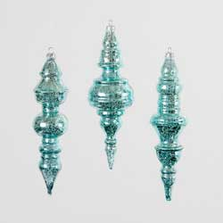 Aqua Blue Mercury Glass Finial Ornament