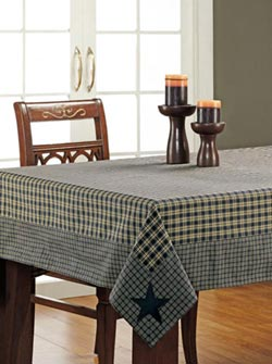 Navy Applique Star Tablecloth - 60 x 60