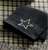Victorian Heart Navy Applique Star Waffle Weave Towel