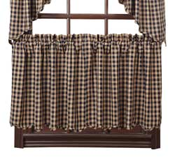 Navy Check Cafe Curtains - 24 inch Tiers