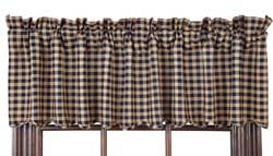Navy Check Valance
