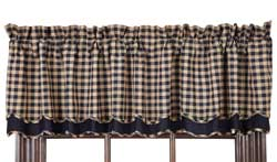 Navy Check Valance - Layered