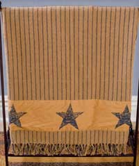 Victorian Heart Navy Stenciled Star Woven Throw