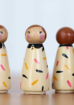 Cupcake Sprinkles Girl Peg Doll - Black, Hot Pink, Mustard, Cream