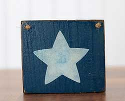 White Star Small Wooden Sign - Blue
