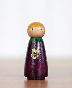 Purple Pansy Girl Peg Doll