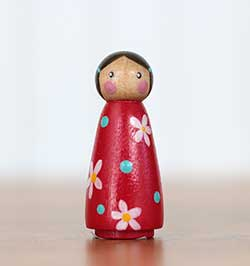 Red Flower Girl Peg Doll