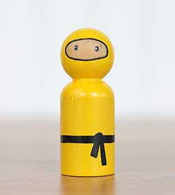 Ninja Peg Doll - Yellow (or Ornament)