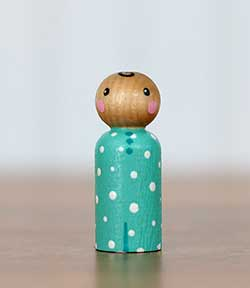 Aqua Polka Dot Peg Doll Baby (or Ornament)