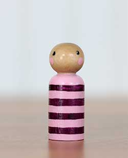 Pink & Purple Striped Peg Doll Baby (or Ornament)