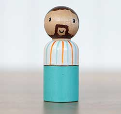 Teal & Striped Peg Doll Dad (or Ornament)