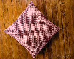 Burgundy & Tan Check Fabric Euro Sham