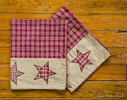 Colonial Star Burgundy & Tan Pillow Cases (Set of 2) - Luxury
