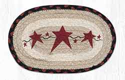 OMSP-19 Primitive Star Burgundy Braided Oval Trivet