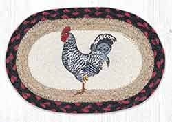 OMSP-602 Black & White Rooster Braided Oval Trivet