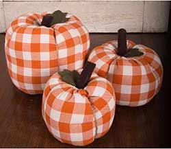 Orange & Cream Check Pumpkin - Large