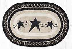 Primitive Stars Black 20 x 30 inch Braided Rug