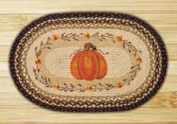 Pumpkin Candy Corn Oval Patch Braided Rug