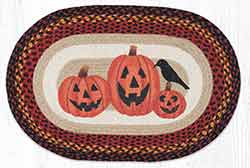Three Jack-O-Lanterns 20 x 30 inch Braided Rug