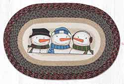 OP-9-118 Three Snowmen 20 x 30 inch Braided Rug