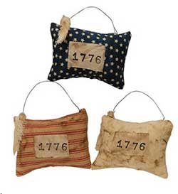 CWI 1776 Pillow Ornaments (Set of 3)