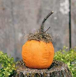 Stuffed Orange Pumpkin with Wood Stem